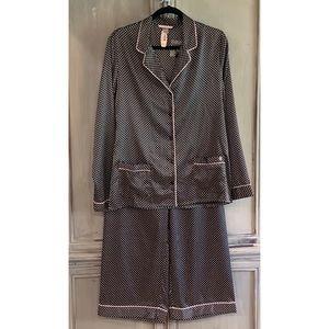 New! Victoria's Secret Black Dot Pajama Set Sz M